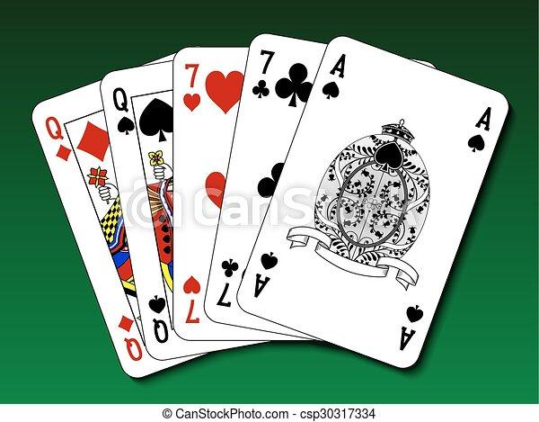 Poker hand - dos pares - csp30317334