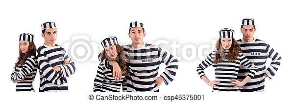 Un par de prisioneros aislados en blanco - csp45375001