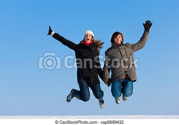 par, pular, inverno, dia - csp5699432