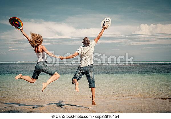 par, pular, tempo, praia, dia, feliz - csp22910454