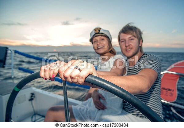 para, jacht, młody, żeglując - csp17300434