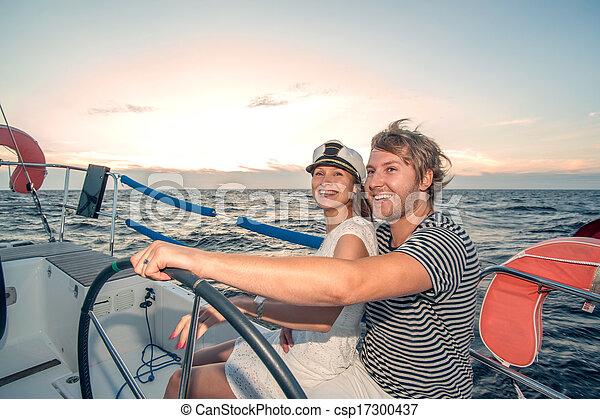 para, jacht, młody, żeglując - csp17300437