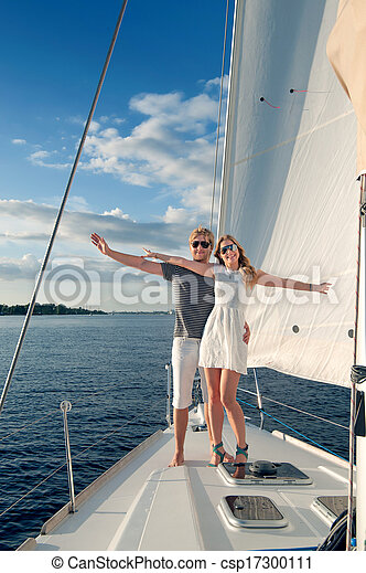 para, jacht, młody, odprężając, szczęśliwy - csp17300111