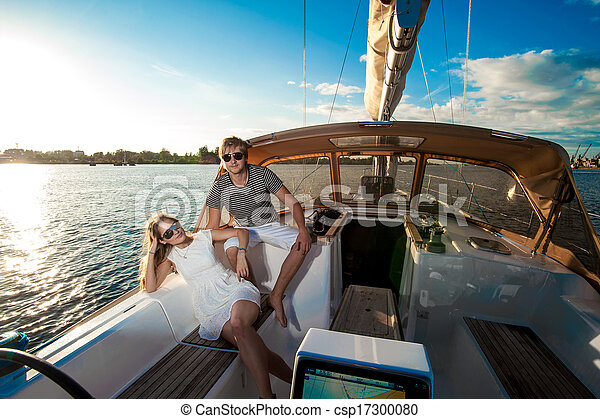 para, jacht, młody, odprężając, szczęśliwy - csp17300080