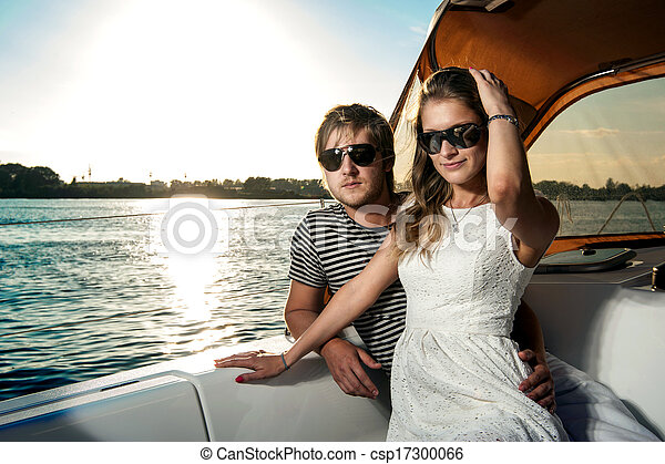 para, jacht, młody, odprężając, szczęśliwy - csp17300066
