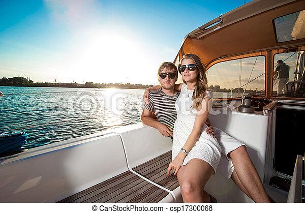 para, jacht, młody, odprężając, szczęśliwy - csp17300068