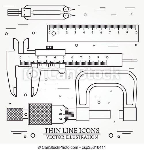 para, użyteczny, cienka lina, busola, micrometer., ciemny, suwmiarka, projektować, interfejs, wektor, komplet, ikony, linia, infographics., sieć, zastosowanie, również, grey., illustration. - csp35818411
