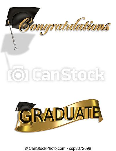 parabéns, arte, graduação, clip - csp3872699