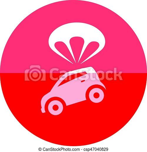 Ícono del círculo, paracaídas de coche - csp47040829