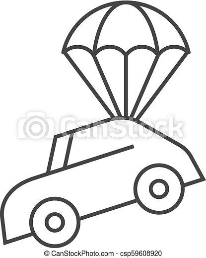 El icono de cabos - paracaídas de coche - csp59608920