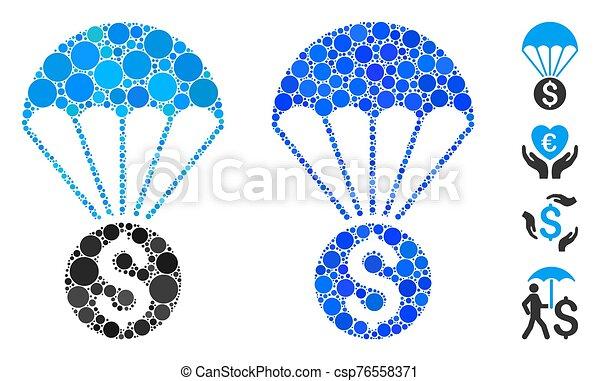 paracaídas, composición, icono, círculo, puntos, financiero - csp76558371