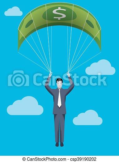 El concepto del negocio del paracaídas dorado - csp39190202