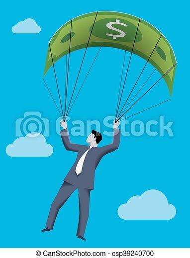 El concepto del negocio del paracaídas dorado - csp39240700