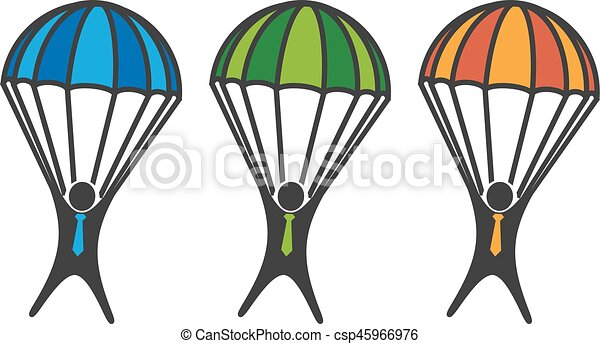 Hombre en Paracaidismo en fondo blanco - csp45966976