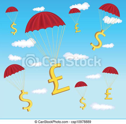 Ilustración de dólar y libra en paracaídas - csp10978889