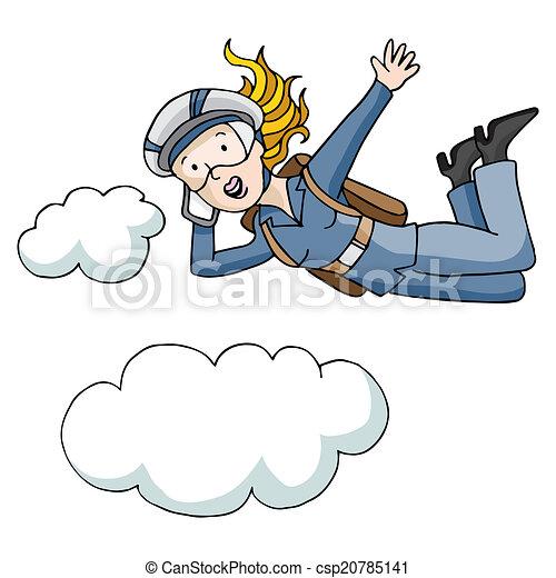 saut en parachute dessin