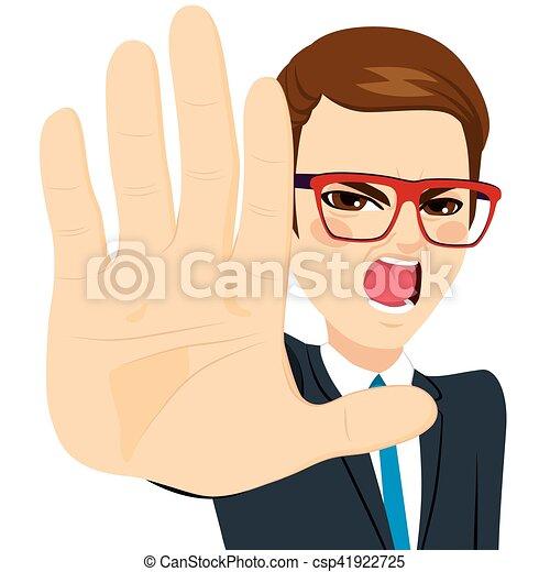 El hombre que muestra señal de alto la palma - csp41922725