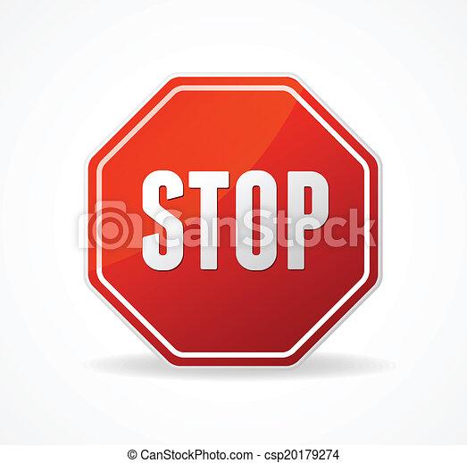Señal de stop del vector rojo aislada en blanco - csp20179274