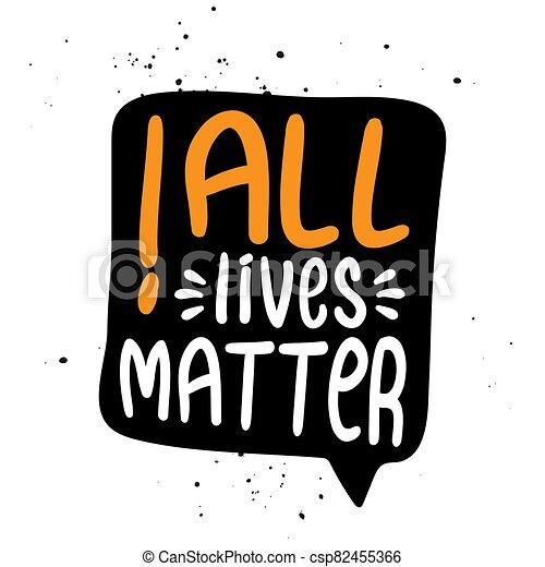 parada, contra, vidas, racismo, lema, discrimination., -, asunto, todos, encantador - csp82455366