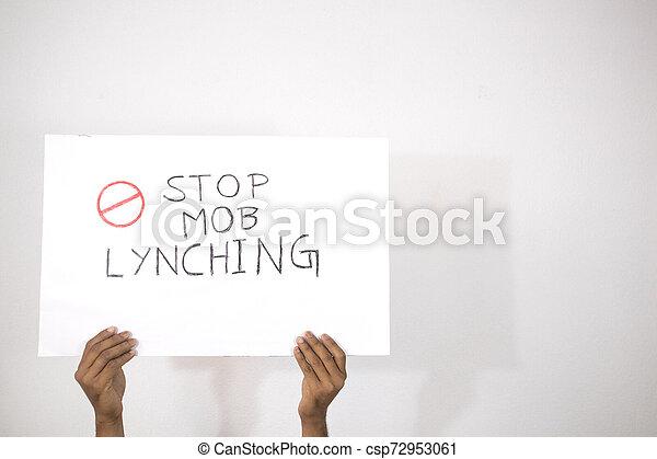 parada, manos, muchedumbre, linchamiento, fondo., aislado, cartel, actuación - csp72953061