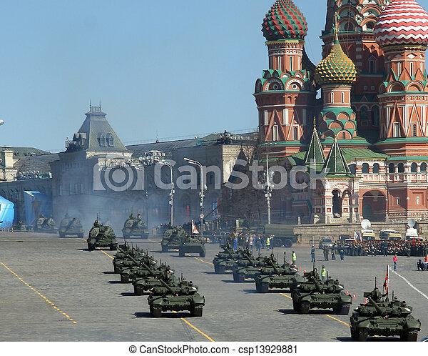 parada, russia., skwer, 2013, moskwa, może, 07, czerwony, wojskowy, powtórka - csp13929881