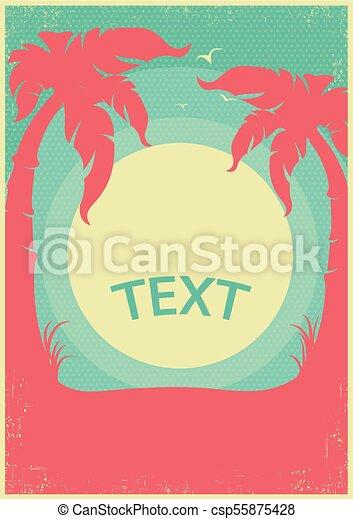 paradies, tropische , text, retro, hintergrund, horizont, poster., vektor - csp55875428