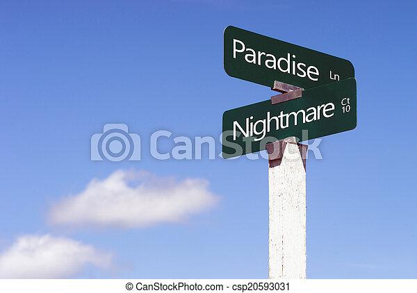 Paradise Nightmare Signs Crossroads Street Avenue Sign - csp20593031