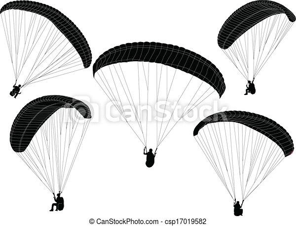 paraglider silhouette - vector - csp17019582
