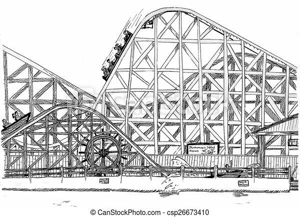 Paragon Park Rollercoaster - csp26673410