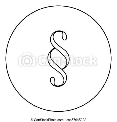 Paragraph symbol black icon outline in circle image - csp57945222