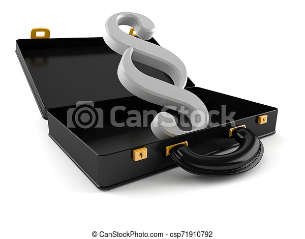 Paragraph symbol inside briefcase - csp71910792