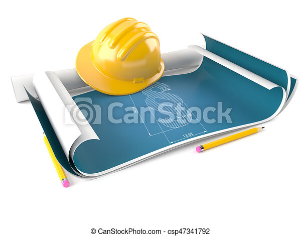 Paragraph symbol on blueprint - csp47341792