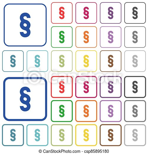 Paragraph symbol outlined flat color icons - csp85895180