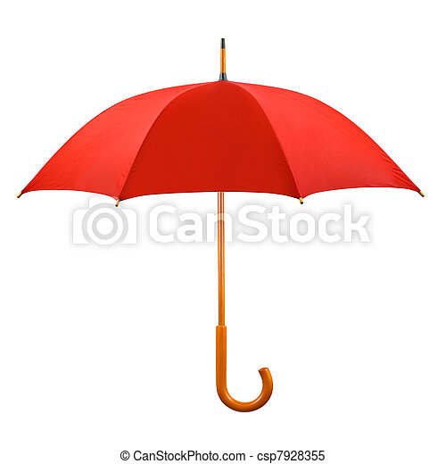 Un paraguas rojo abierto - csp7928355