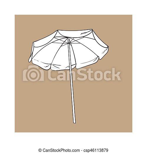 Sombrilla de playa blanca y negra, ilustración de vectores de diseño - csp46113879