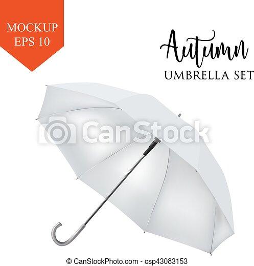 Paraguas, clásico, blanco, aislado, lluvia, redondo, vector, plano ...