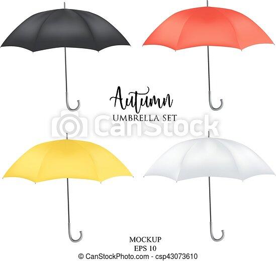 Paraguas, coloreado, set., arriba, lluvia, sombrilla, parasol ...