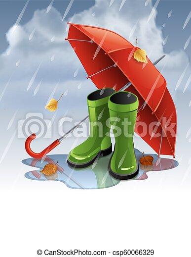 Trasfondo de otoño con paraguas rojos y botas de goma verdes. - csp60066329