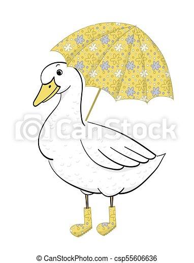 Paraguas Mano Vector Ganso Pato Dibujado