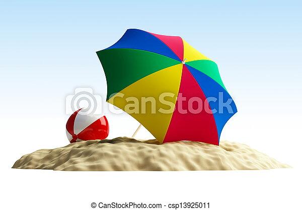 paraguas, pelota, playa - csp13925011