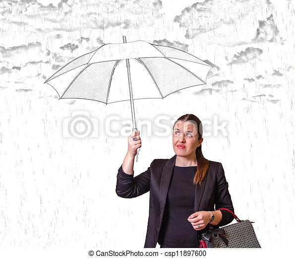 Una chica bonita con paraguas aislados de fondo blanco - csp11897600
