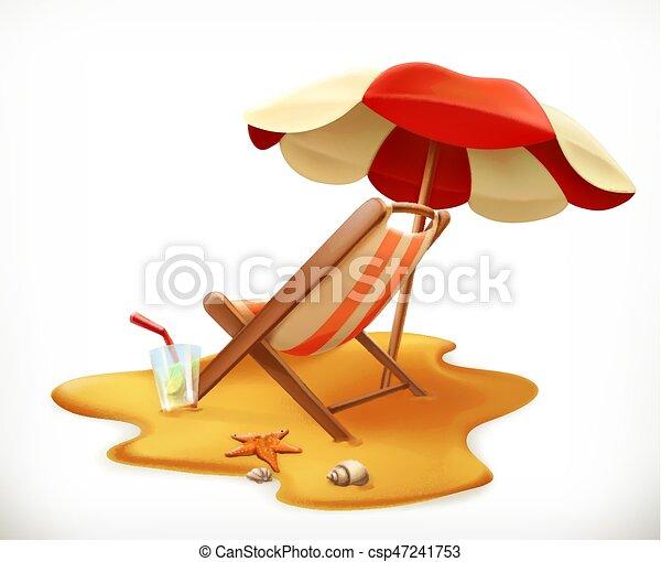 Sombrilla de playa y sillón, icono vector 3D - csp47241753