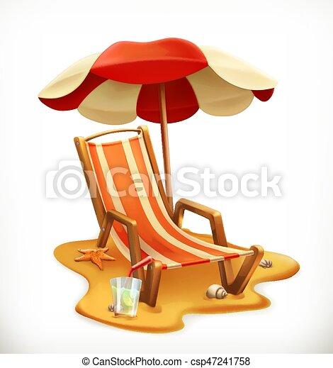 Sombrilla de playa y sillón, icono vector 3D - csp47241758