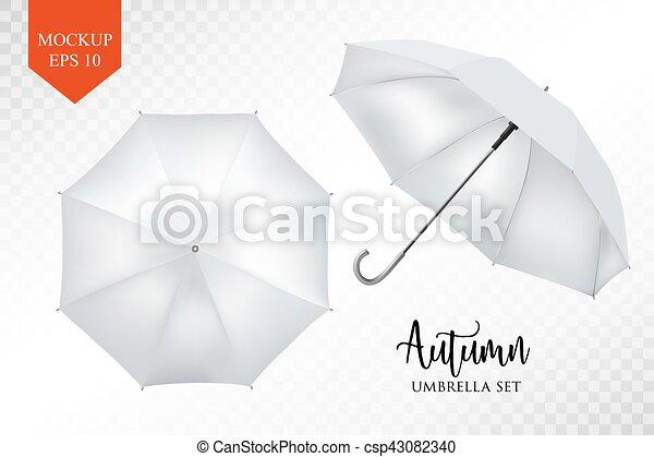 Paraguas, set., sombrilla, lluvia, arriba, parasol, realista, vector ...