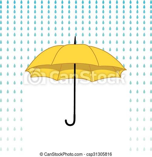 Tarjeta con paraguas y lluvia - csp31305816