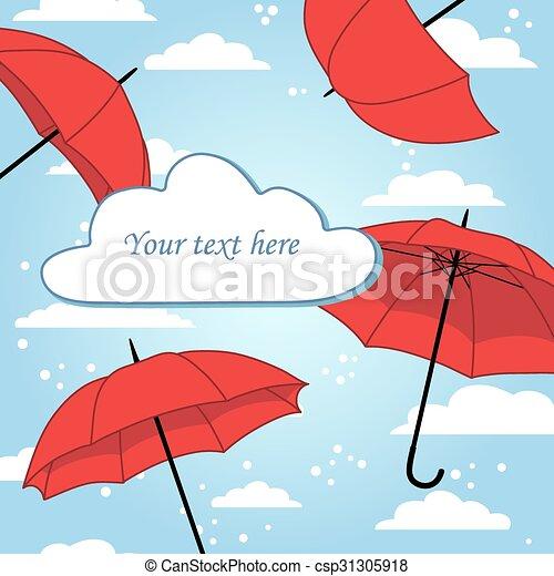 Tarjeta con paraguas y lluvia - csp31305918