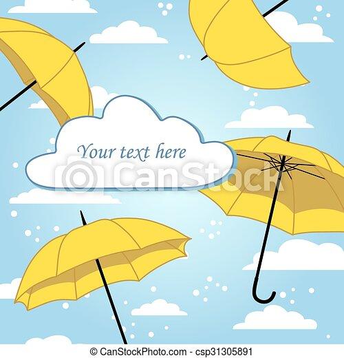 Tarjeta con paraguas y lluvia - csp31305891