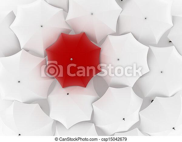 paraguas, uno, otro, blanco, único, rojo - csp15042679