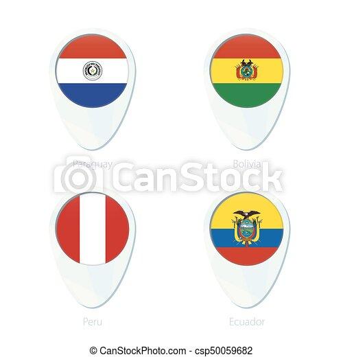paraguay bolivia peru ecuador flag location map pin icon