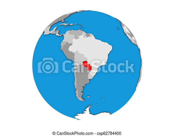 Paraguay on 3D globe isolated - csp62784400
